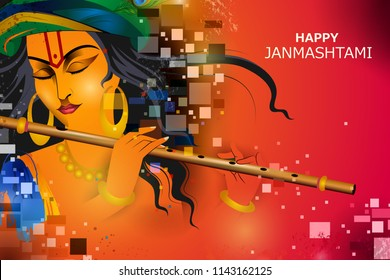 easy to edit vector illustration of Lord Krishna playing flute on Happy Janmashtami holiday Indian festival greeting background
