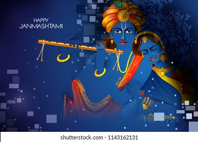 easy to edit vector illustration of Lord Krishna and Radha playing flute on Happy Janmashtami holiday Indian festival background