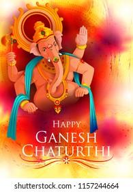 easy to edit vector illustration of Lord Ganpati on Ganesh Chaturthi background