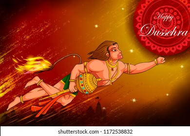 easy to edit vector illustration of Lord Hanuman Lanka Dahan  in Happy Dussehra background showing festival of India
