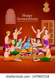 easy to edit vector illustration of Lord Krishna with friends eating makhan cream on Happy Janmashtami holiday Indian festival greeting background