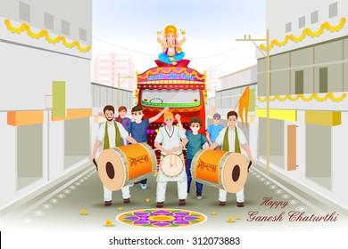 easy to edit vector illustration of Lord Ganesha procession for Ganesh Chaturthi with message Ganpati Bappa Morya (My Lord Ganesha)