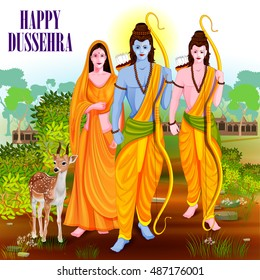 easy to edit vector illustration of Lord Rama Laxmana and Sita in Happy Dussehra background showing festival of India