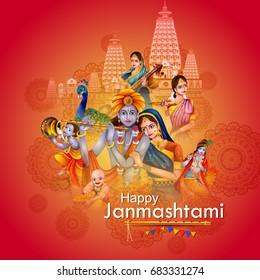 easy to edit vector illustration of Lord Krishna and Radha on Happy Janmashtami background