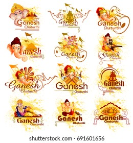 easy to edit vector illustration of Lord Ganpati on Ganesh Chaturthi typo