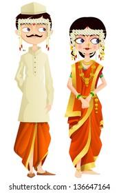 easy to edit vector illustration of Maharashtrian wedding couple