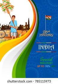 easy to edit vector illustration of Man selling flag of India on Indian Republic Day celebration Sale background