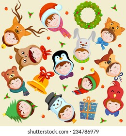 easy to edit vector illustration of Merry Christmas background with different character
