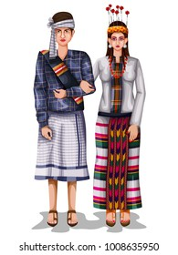 easy to edit vector illustration of Mizo wedding couple in traditional costume of Mizoram, India