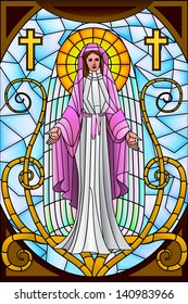 easy to edit vector illustration of Mother Mary in stained glass painting