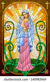 easy to edit vector illustration of Mother Mary with Jesus Christ in stained glass painting