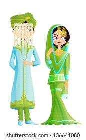 easy to edit vector illustration of Muslim wedding couple