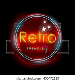 easy to edit vector illustration of Neon Light signboard for Retro Banner