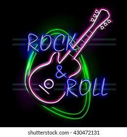 easy to edit vector illustration of Neon Light signboard for Rock and Roll