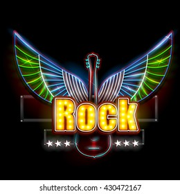 easy to edit vector illustration of Neon Light signboard for Rock Banner