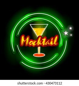 easy to edit vector illustration of Neon Light signboard for Mocktail shop