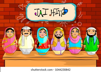 easy to edit vector illustration of Nested Doll Indian couple representing diverse culture from different States