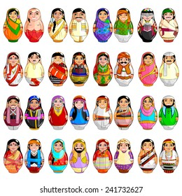 easy to edit vector illustration of nested doll representing Indian couple from different states
