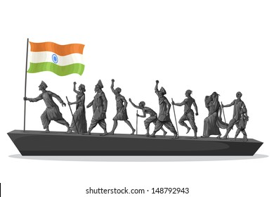 easy to edit vector illustration of patriot marching with Indian flag