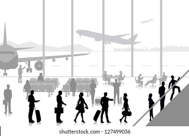 easy to edit vector illustration of people in airport lounge