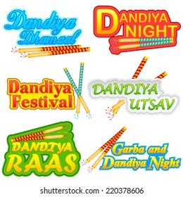 easy to edit vector illustration of people doing Dandiya in Navratri
