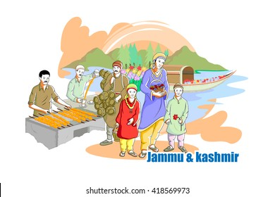 easy to edit vector illustration of people and culture of Jammu & Kashmir, India