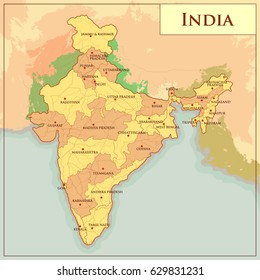 easy to edit vector illustration of Physical Map of India with different state