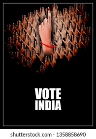 easy to edit vector illustration of poster banner show hand of Indian people for election and vote polling campaign of India