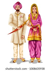 easy to edit vector illustration of Punjabi wedding couple in traditional costume of Punjab, India