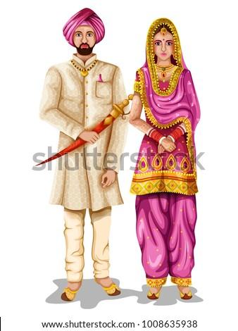 Easy Edit Vector Illustration Punjabi Wedding Stock Vector ...