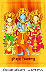 easy to edit vector illustration of Ram, Sita, laxman  in Happy Dussehra background showing festival of India