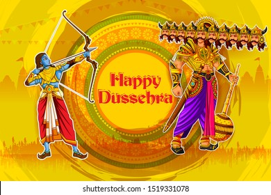easy to edit vector illustration of Rama killing Ravana with Hindi massage meaning Happy Dussehra background showing festival of India