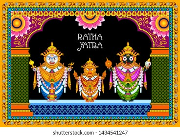 easy to edit vector illustration of Rath Yatra Lord Jagannath festival Holiday background celebrated in Odisha, India