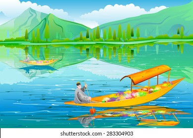 easy to edit vector illustration of River-side landscape