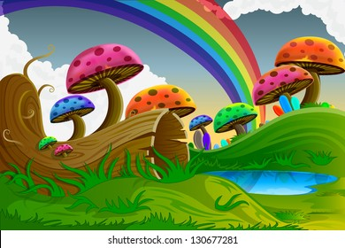 easy to edit vector illustration of scenic beauty of fairy tale with colorful mushroom
