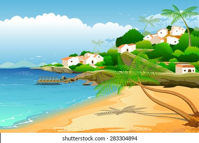 easy to edit vector illustration of  sea beach backwater landscape