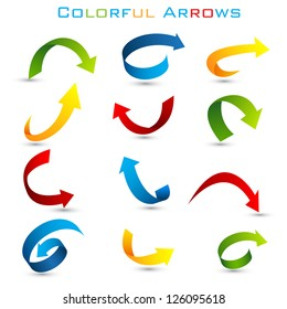 easy to edit vector illustration of set of colorful arrow