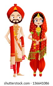 easy to edit vector illustration of Sikh wedding couple