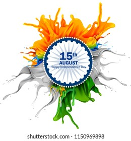 easy to edit vector illustration of splash of Indian Flag on Happy Independence Day of India background