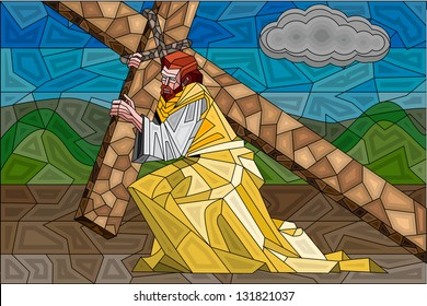 easy to edit vector illustration of stained glass painting of Jesus Christ