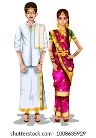 easy to edit vector illustration of Tamil wedding couple in traditional costume of Tamil Nadu, India