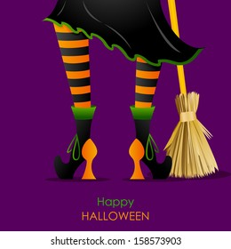 easy to edit vector illustration of witch leg with Broomstick in Halloween background