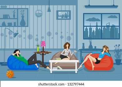 easy to edit vector illustration of women chatting and relaxing in couch