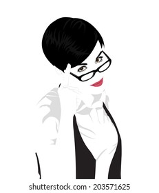 Easy editable layered vector portrait of young beautiful short hair woman wearing glasses with finger on her temples.