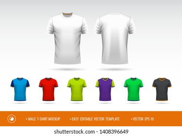 Easy editable men's T-shirt template for your design. You can easy change color of body, sleeves, collar, cuff and bottom.