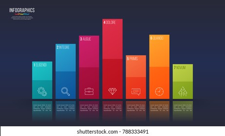 Easy editable vector 7 options infographic design, bar chart, presentation template. Global swatches.