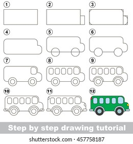 Easy educational kid game. Simple level of difficulty. Gaming and education. Drawing tutorial for Bus.