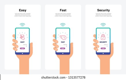 Easy, Fast, Security, New And Modern Trends. Can Use For Marketing And Promotion, Web, Mobile, Infographics, Editorial, Commercial Use And Others. Vector.