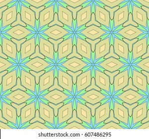 Easy festive ornament from abstract flower in the style of geometric transformations. Vector. For registration backgrounds, greeting cards, design. Seamless pattern.