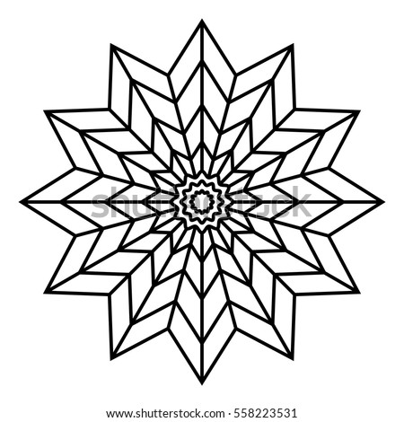 Easy Floral Black White Mandala Coloring Stock Vektorgrafik